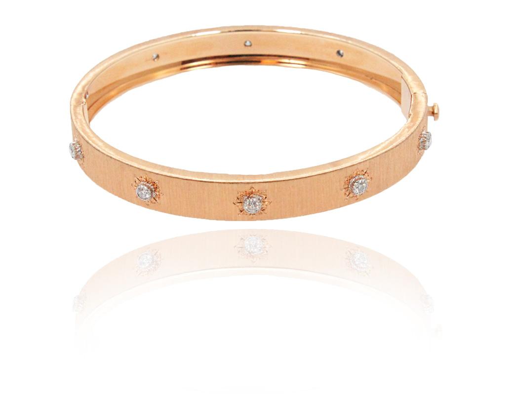 "Image of ""Buccellati 18K Rose Gold & Diamonds Bangle Bracelet"""