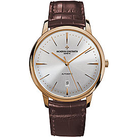 Vacheron Constantin Patrimony 85180/000R-9248 18K Pink Gold and Leather with Silver Dial 40mm Mens Watch