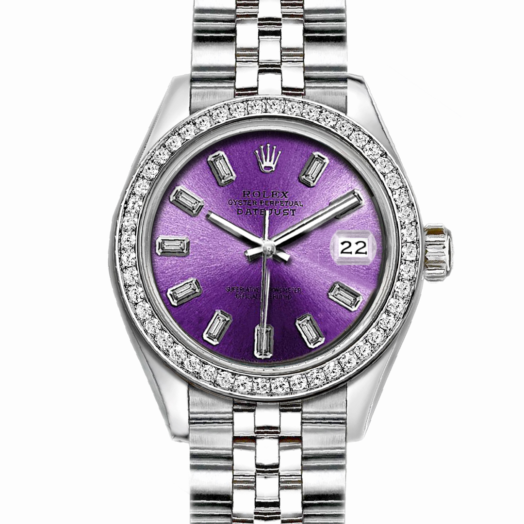 """Image of """"Rolex Datejust Stainless Steel with Custom Bezel and Purple Dial 36mm"""""""