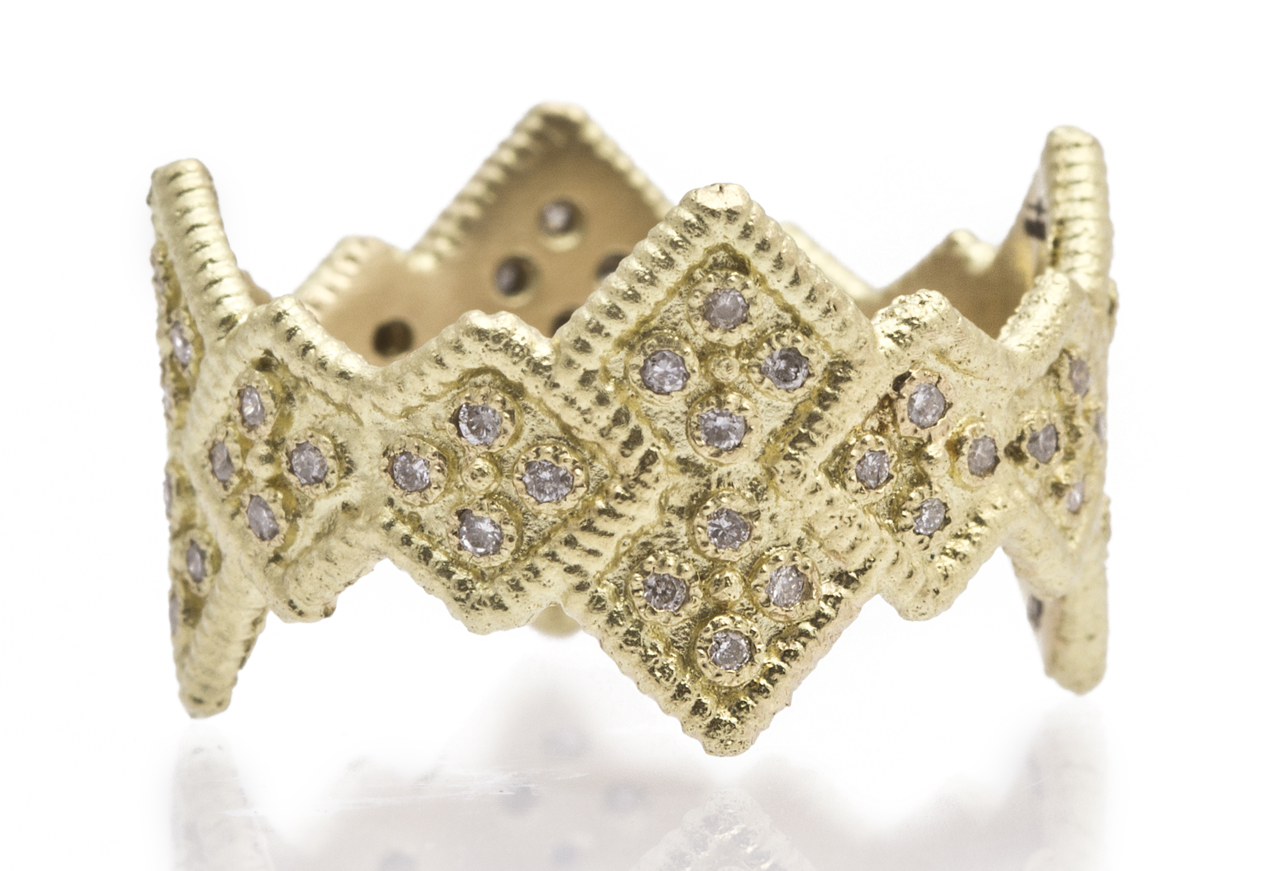 "Image of ""18k Yellow Gold Wide Cravelli Stack Band Ring With White Diamonds"""