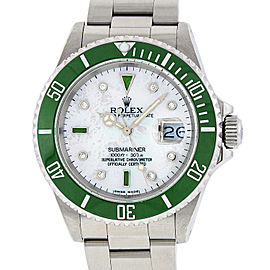 Rolex Submariner 16610 Stainless Steel with White Mother Of Pearl and Diamond Emerald 40mm Mens Watch