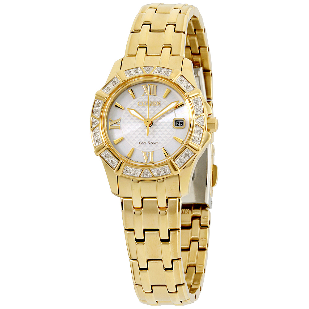 "Image of ""Citizen Ew236255A Gold Tone Stainless Steel with Diamond Silver Dial"""