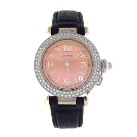 Cartier Pasha 2308 18K White Gold & Black Leather wDiamonds Salmon Dial Automatic 35mm Womens Watch