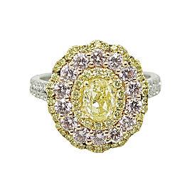 18K White & Yellow Gold Diamond Ring Size 6.5