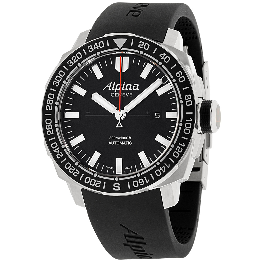 "Image of ""Alpina Adventure Al525Lb4V6 Black Dial Silicone Strap 44mm Mens Watch"""