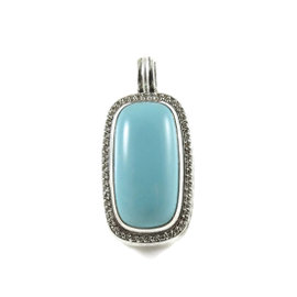 David Yurman 925 Sterling Silver .56ct Turquoise Diamond Albion Pendant