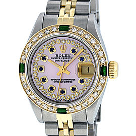 Rolex Datejust Stainless Steel and 18K Yellow Gold Pink Mother of Pearl String Diamond and Sapphire Dial 26mm Women's Watch