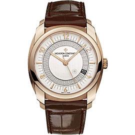 Vacheron Constantin Quai De L'ile 86050/000R-I0P2 18K Rose Gold and Leather with Silver Dial 41mm Mens Watch