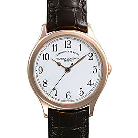 Vacheron Constantin Historiques 86122/000R-9362 18K Pink Gold & Leather with White Dial 39mm Mens Watch