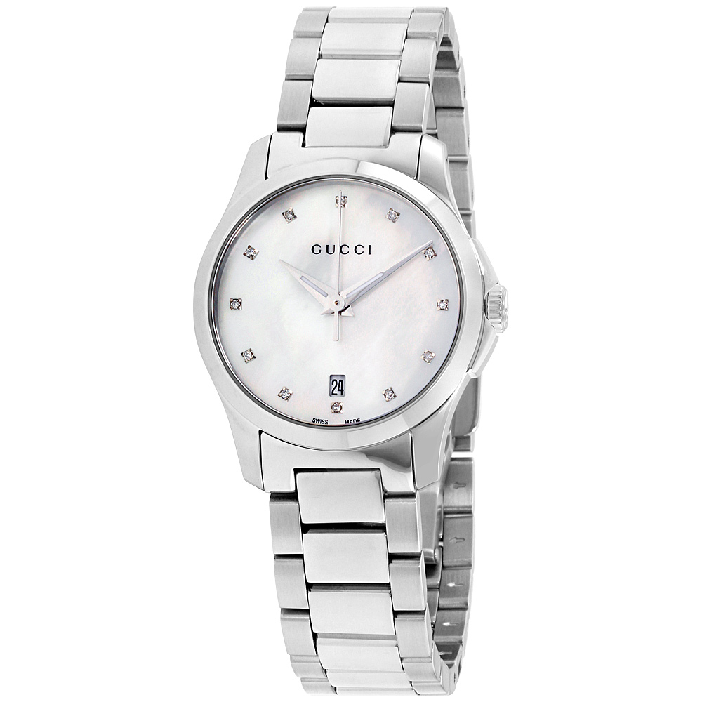 """Image of """"Gucci G-Timeless Ya126542 Stainless Steel Mother Of Pearl Dial 27mm"""""""