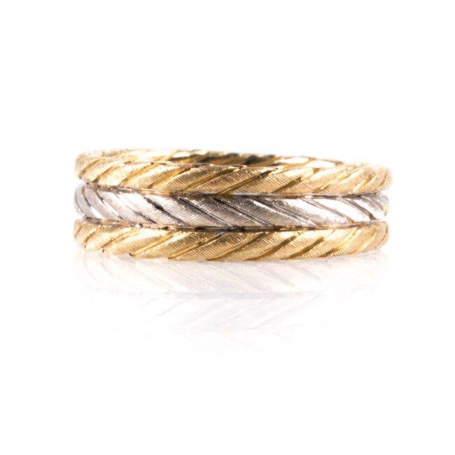 "Image of ""Buccellati 18K White & Yellow Gold Wedding Band Ring Size 7"""