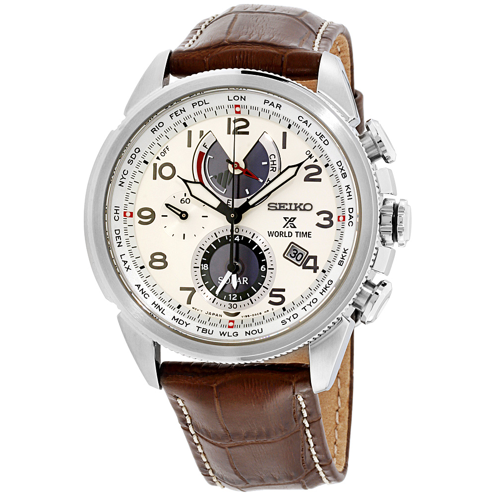 """Image of """"Seiko Prospex Ssc509 Stainless Steel and Leather with Cream Dial 42mm"""""""