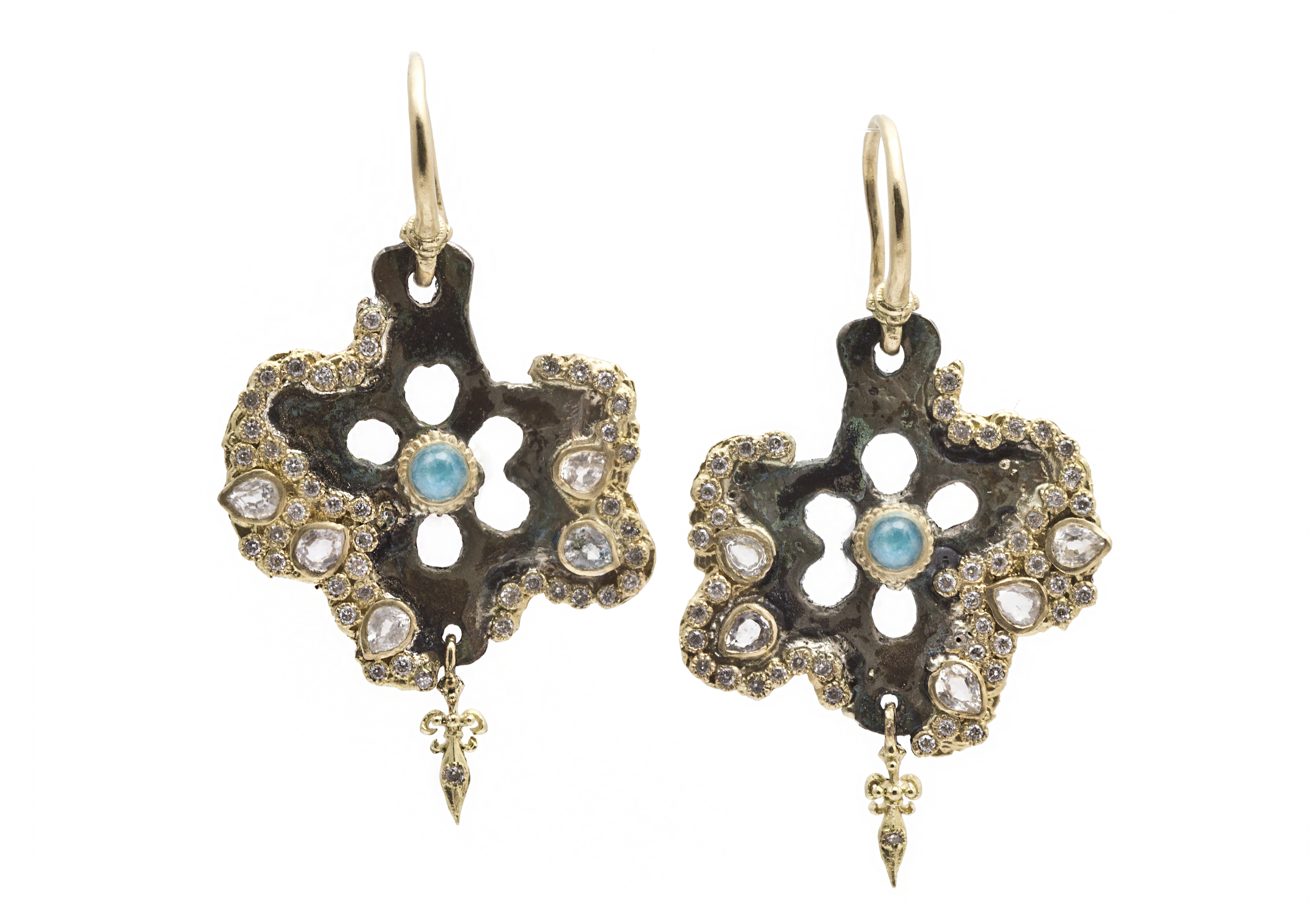 "Image of ""18k Yellow Gold Star Artifact Earrings With Blue Turquoise/rainbow"""
