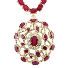 14K Yellow Gold 48.35ct African Ruby & 0.40ct Diamond Necklace
