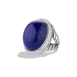 David Yurman Sterling Silver Lapis and Diamond Ring Size 7