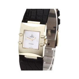 Omega Quadra 1631.78 18K Yellow Gold & Leather with 0.04ct Diamond 26mm Womens Watch