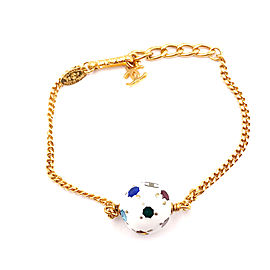 Chanel Gold Tone Chain Colorful Crystal Ball Bracelet