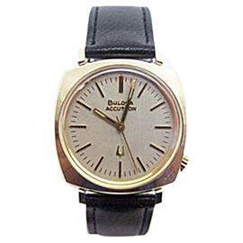 Bulova Accutron Yellow Gold Electroplated Quartz Vintage 34mm Mens Watch Year 1972