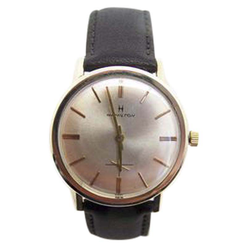 "Image of ""Hamilton 10K Rose Gold Plated Winding 33.3mm Mens Watch 1960s"""