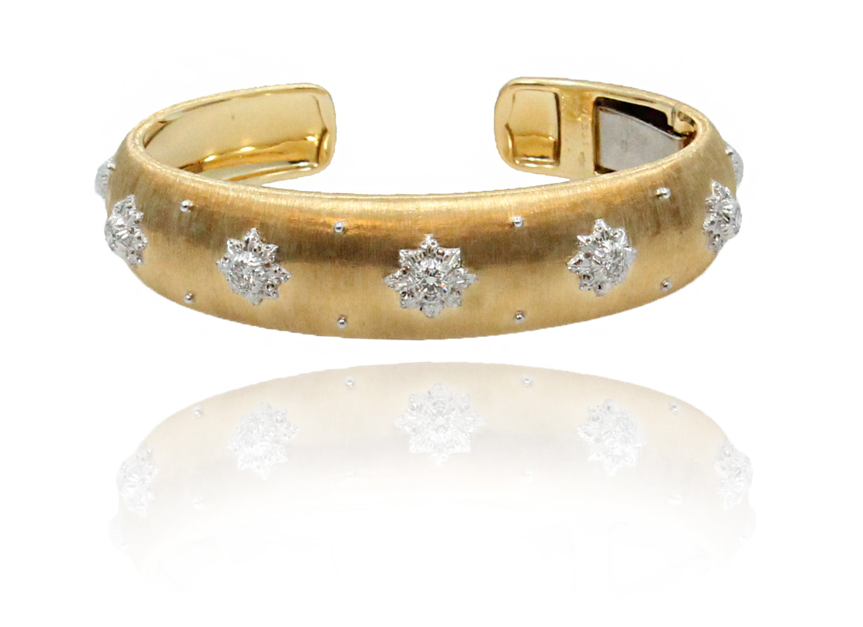 "Image of ""Buccellati Macri 18K White & Yellow Gold Cuff Bracelet"""