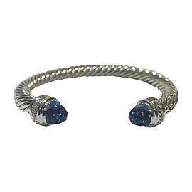 David Yurman Cable Classics Sterling Silver with Blue Topaz & 0.48ct Diamonds Bracelet