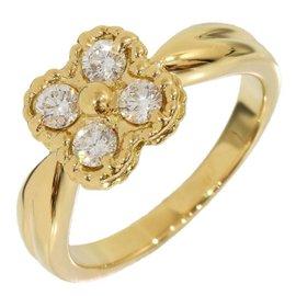 Van Cleef & Arpels 18K Yellow Gold Alhambra 0.04 Ct Diamond Ring Size 3.75