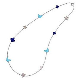 Van Cleef & Arpels 18K White Gold Alhambra Turquoise, Lapis & Mother of Pearl Necklace