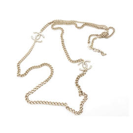 Chanel Gold Tone CC White Chain Necklace