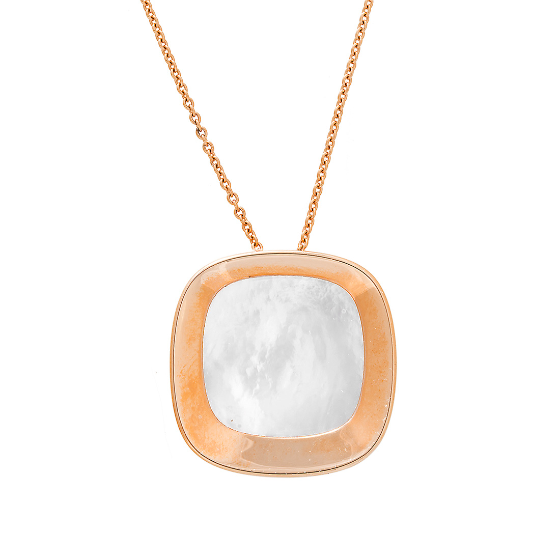 """Image of """"Roberto Coin 18K Rose Gold Mother of Pearl Square Bowl Shaped Pendant"""""""