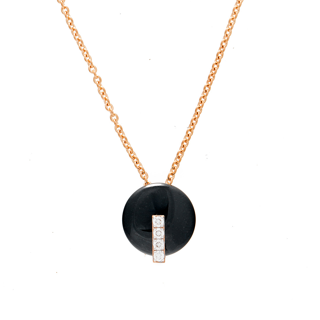 "Image of ""Roberto Coin 18K Rose Gold 0.08ct Diamond & Black Jade Necklace"""