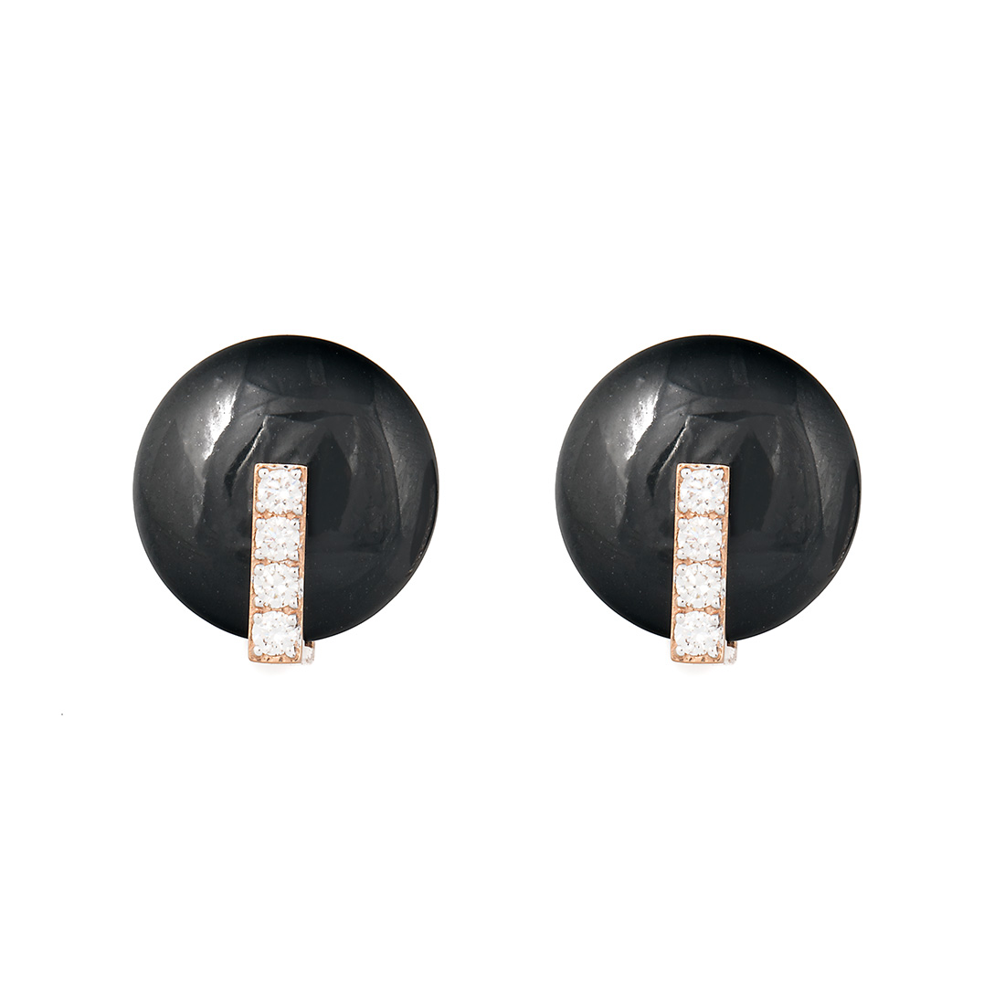 "Image of ""Roberto Coin 18K Rose Gold 0.16ct Diamond & Black Jade Disk Earrings"""