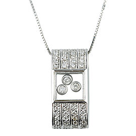 14K White Gold .50tcw Floating Diamond Pendant Necklace