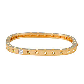 Roberto Coin Pois Moi 18K Yellow Gold 0.07ct Diamond Single Row and Satin Square Set in Textured Bangle Bracelet