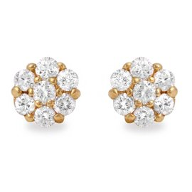 14K Yellow Gold 1ct Natural Diamond Earrings