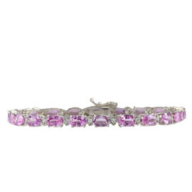 14K White Gold 14.10ct Pink Sapphire and Diamond Bracelet
