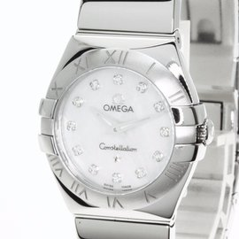 Omega Constellation 123.10.24.60.55.002 Stainless Steel with 12P Diamond Quartz 24 mm Womens Watch