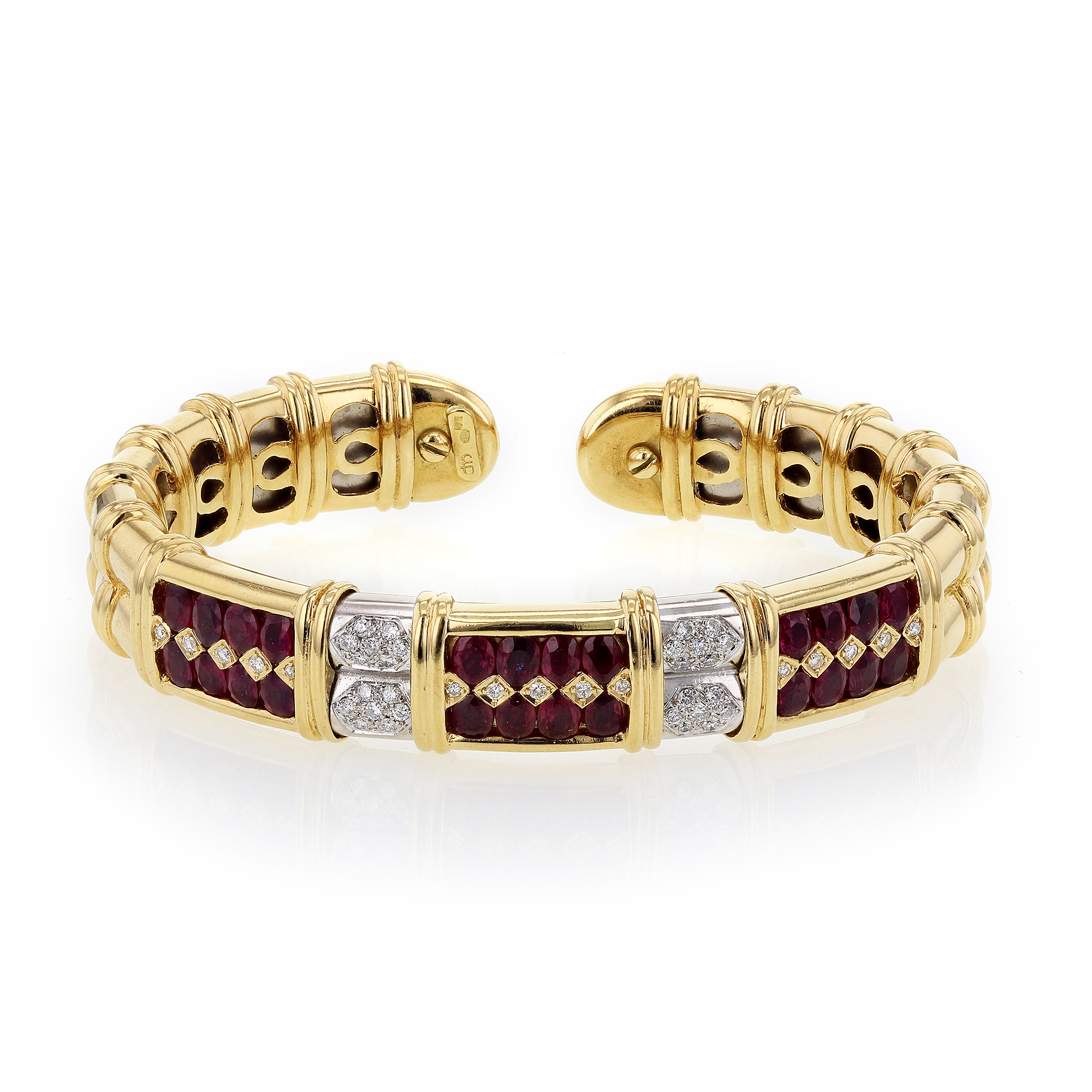 "Image of ""Sabbadini Gioielli 18K Yellow Gold with Ruby & Diamond Cuff Bangle"""