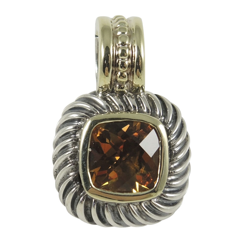 "Image of ""David Yurman Sterling Silver and 14K Yellow Gold Citrine Small Square"""