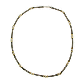 David Yurman 925 Sterling Silver & 14K Yellow Gold Cable Pearl Necklace
