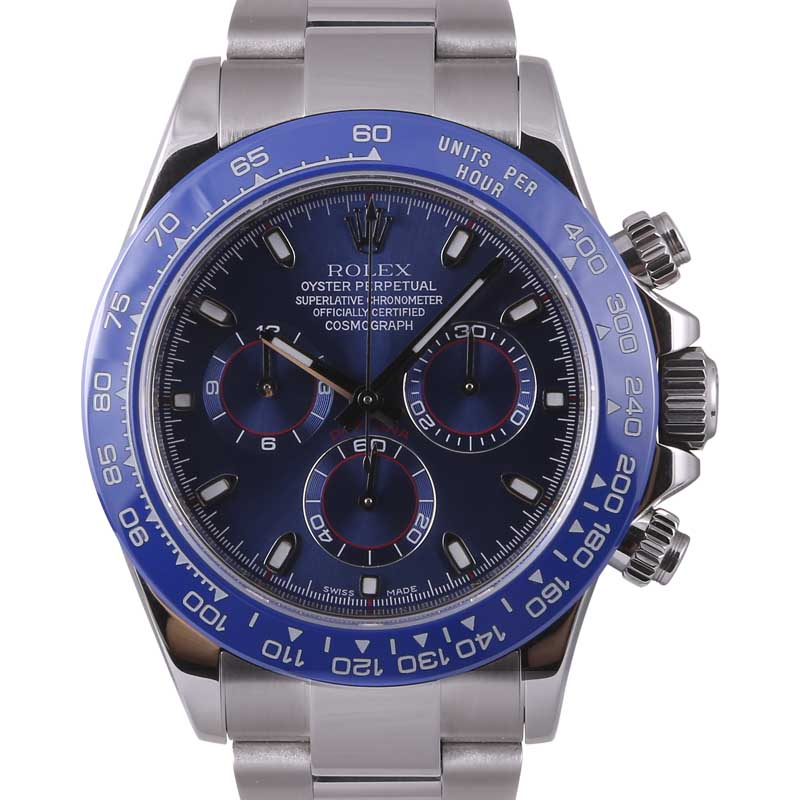 "Image of ""Rolex Daytona 116520 Stainless Steel Blue Arab Dial Blue Insert"""