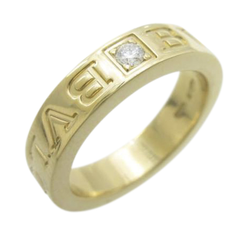 "Image of ""Bulgari 18K Yellow Gold with Diamond Double Logo Ring Size 3"""