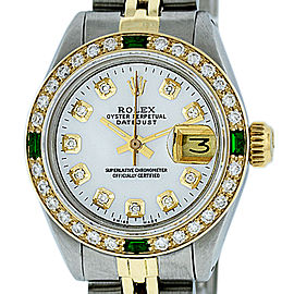 Rolex Datejust Stainless Steel and 18K Yellow Gold White Mother of Pearl Diamond Dial 26mm Women's Watch