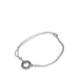 Cartier Love 18K White Gold and Diamond Bracelet Size 18.5
