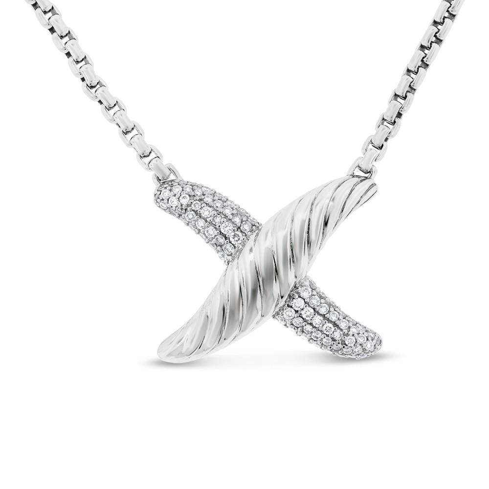 "Image of ""925 Silver 0.50 Ct. Authentic David Yurman Diamond X Pendant Necklace"""