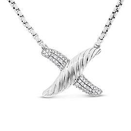 925 Silver 0.50 Ct. Authentic David Yurman Diamond X Pendant Necklace