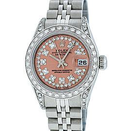 Rolex Datejust Stainless Steel & 18K White Gold Salmon String Diamond 26mm Watch
