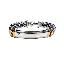 David Yurman 925 Sterling Silver & 18K Yellow Gold with 0.3ct Diamond Bracelet