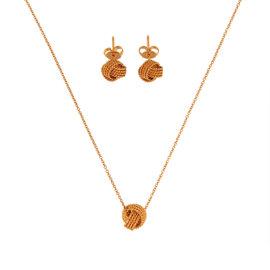 Tiffany & Co. 18K Rose Gold Twist Knot Earrings Necklace Set