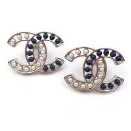 Chanel CC Silver Tone Metal Blue Stone & Pearl Piercing Earrings