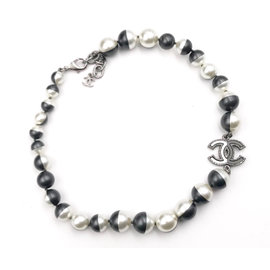 Chanel Silver Tone Hardware with White and Black Faux Pearl Choker Necklace